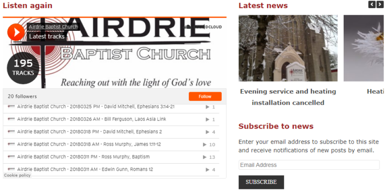 Sermons and news on the homepage