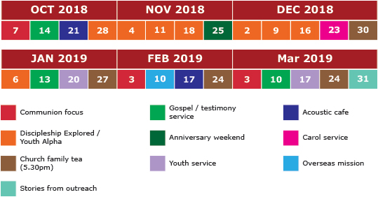 Sunday evening services timetable
