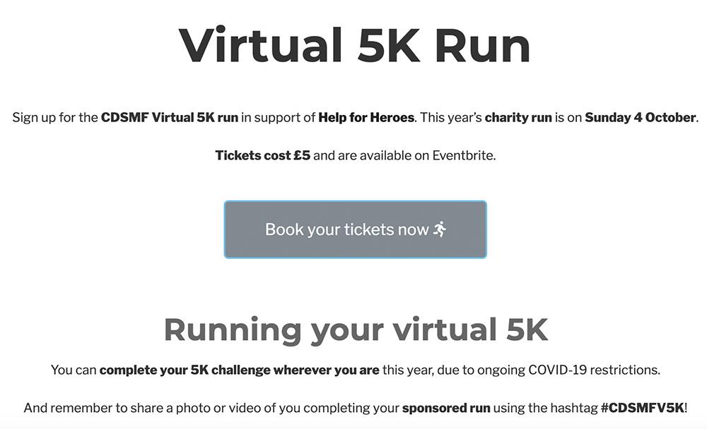 Virtual 5K run landing page